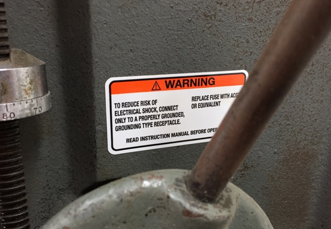Rough Texture Warning Label